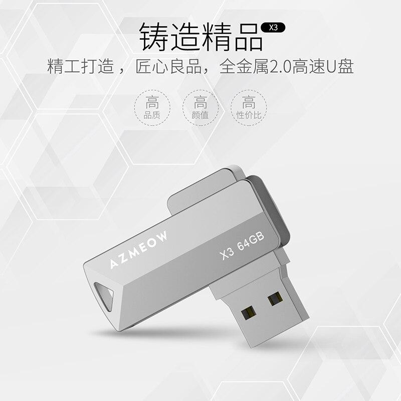X3 USB 2.0 Metal Flash Drive 64GB/32GB/16GB/8GB Black Pen Drive Pendrive USB Memory Stick 2.0 USB Disk USB Flash Storage Devices