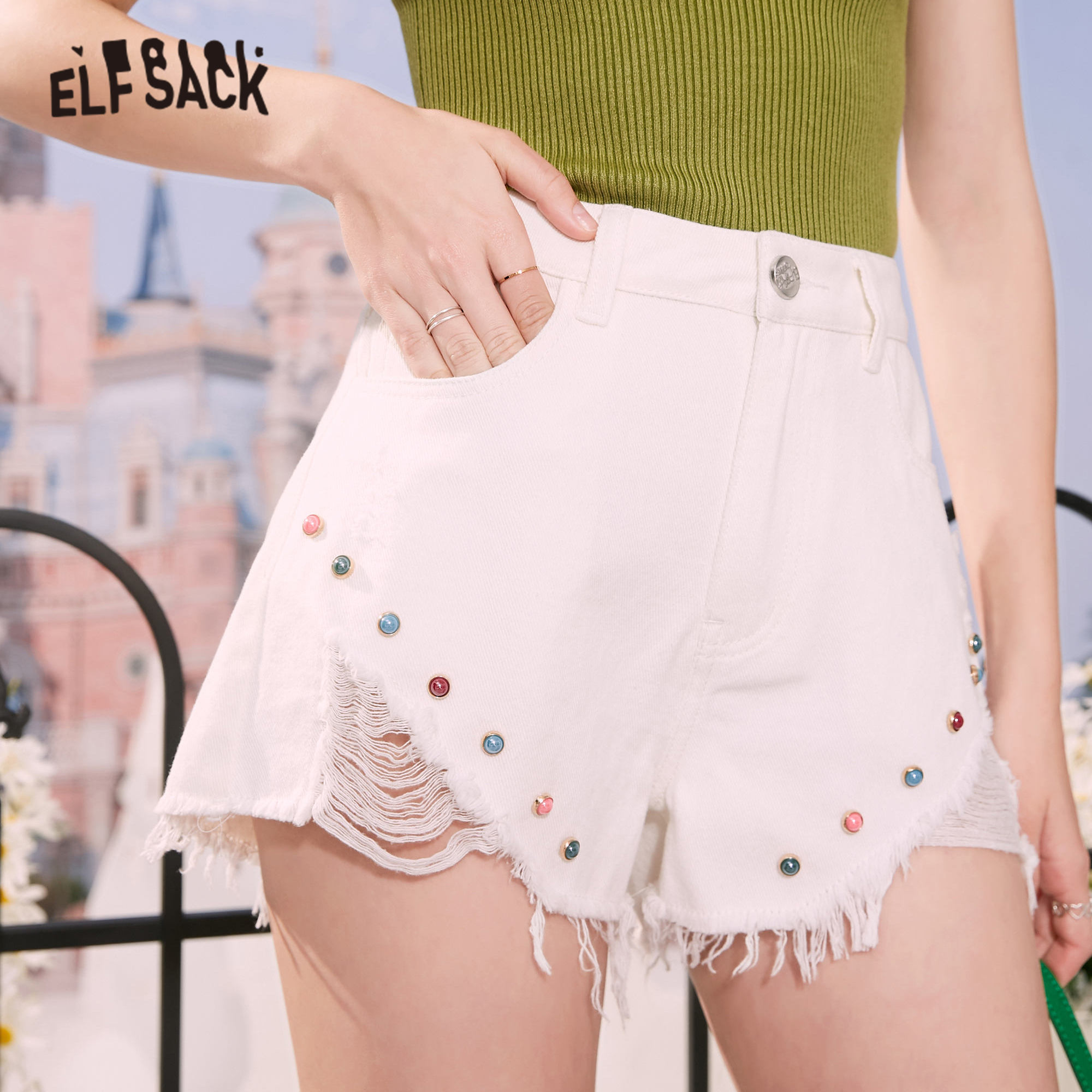 ELFSACK White Solid Raw Hem Ripped Casual Women Denim Shorts 2020 Summer Candy Beaded High Waist Korean Ladies Daily Bottoms