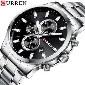 CURREN New Brand Men Watch Fashion Sports Quartz Watches Mens Stylish Chronograph Watch Stainless Steel waterproof montre homme