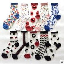 20 PCS = 10 คู่แฟชั่นผู้หญิงถุงเท้าฤดูใบไม้ผลิและฤดูร้อนบาง Polka Dots