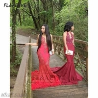 2021 red evening dress mermaid lace appliques sleeveless lace up back floor length black girls evening party gowns