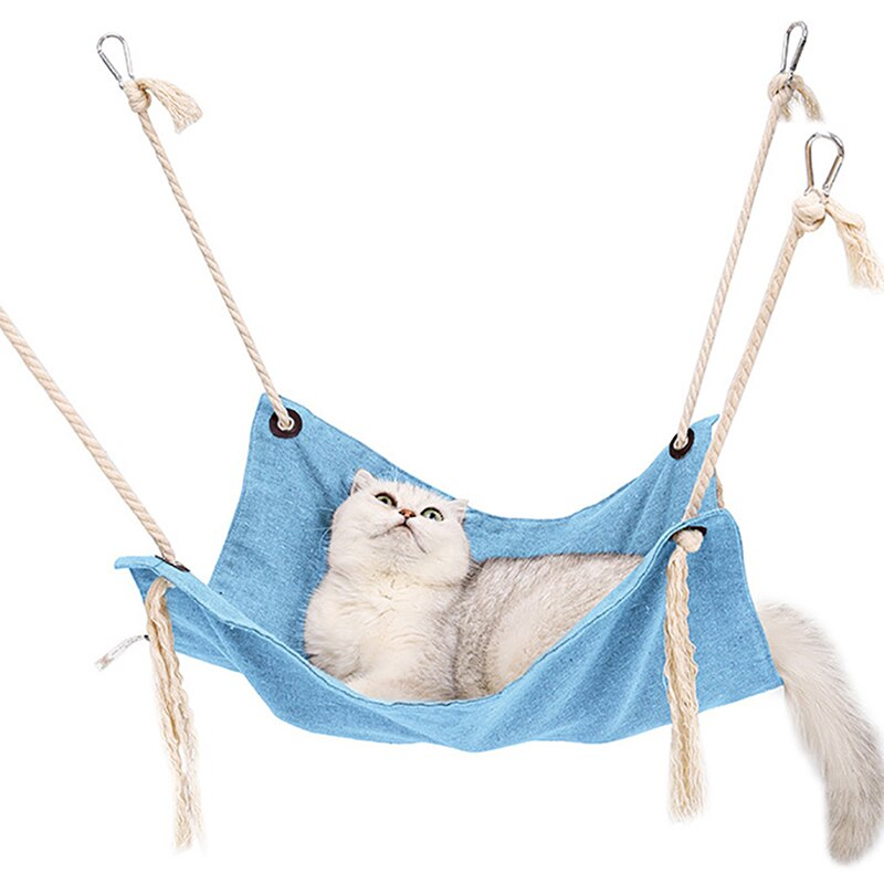 New Pet Hammock Kitten Cat Hanging Bed Cage Bed Breathable Tassel Cotton Hammocks for Cats Rodents Hammock Pets Kitten Supplies