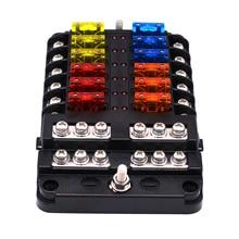 Luz indicadora de LED WUPP 6 maneras 12 maneras hoja 12V 32V cubierta impermeable PBT portafusibles con perno M5 para yates de barcos