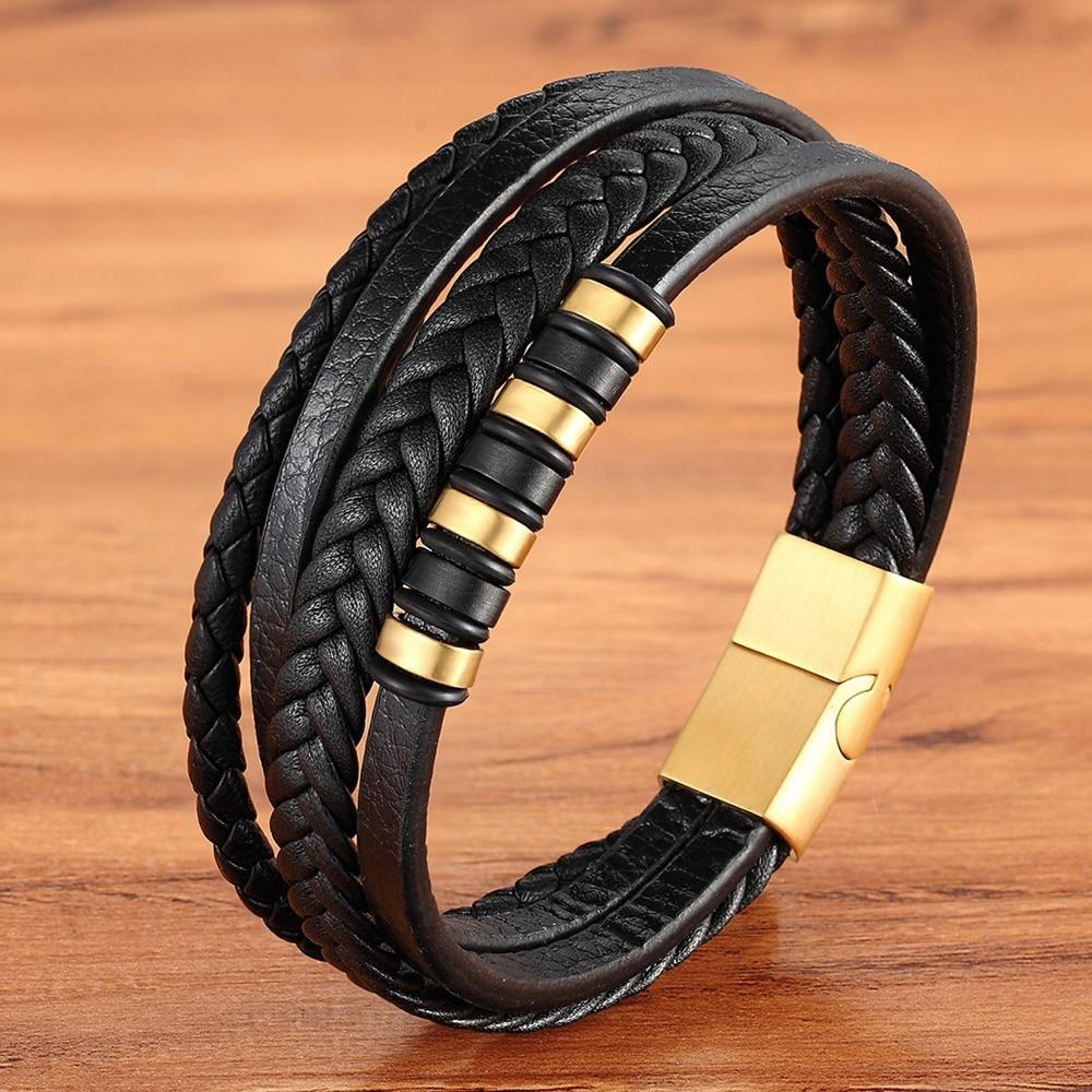 Mode unisexe multi-couche en cuir tissé et en acier inoxydable combinaison hommes Bracelet en cuir noir marron mâle bijoux cadeau