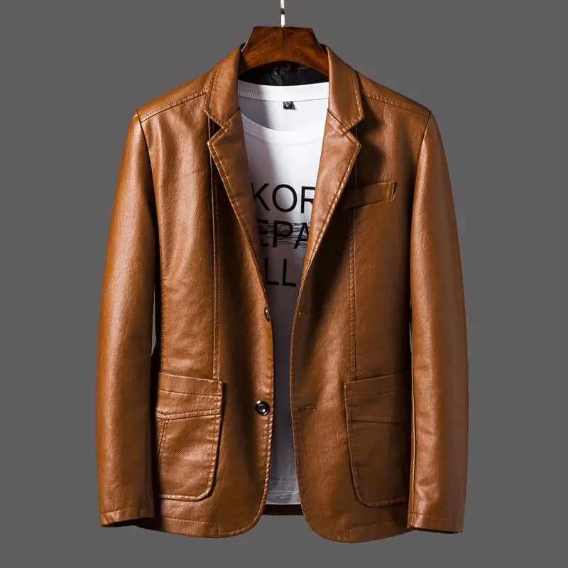 2020 Autumn Mens Leather Jackets Motorcycle Stand Mens Coats Zipper PU Pocket Jackets Biker Faux Leather Fashion Outerwear 6XL