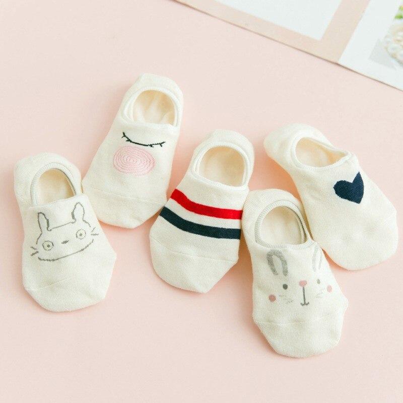 5 pares de calcetines de las mujeres corte bajo de algodón calcetines Kawaii suave de verano de dibujos animados de animales tobillo calcetines gato de corazón-Calcetines