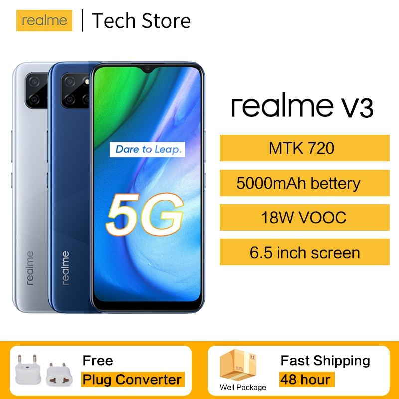 Перейти на Алиэкспресс и купить Оригинальный 5G realme v3 мобильный телефон 5000 мА/ч, Батарея 18 Вт VOOC MTK 720 6,5 ''ЖК-дисплей большой Экран 13MP тройной задней Камера смартфон