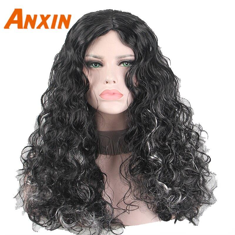 Anxin Pelo Rizado ondulado negro para mujeres negras sin flequillo rizado largo Peluca de pelo sintético 16 pulgadas sobre el hombro peluca súper densa