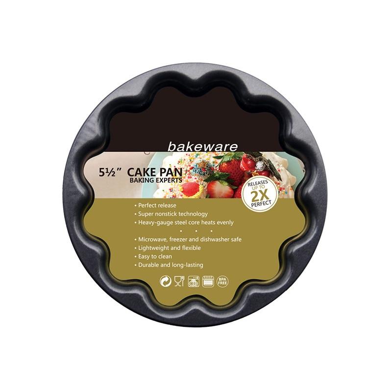 段ボール花型ノンスティック耐熱皿ツール 5.6 インチフルーツパイプレート黒 1 個炭素鋼キッチン用品ケーキ型