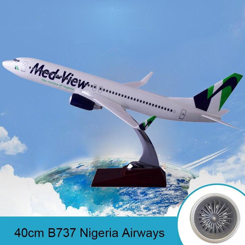 Avión de resina de 40cm modelo Boeing 737 Nigeria Airways modelo B737 med-view Airbus modelo de avión Stand Craft Nigeria línea aérea