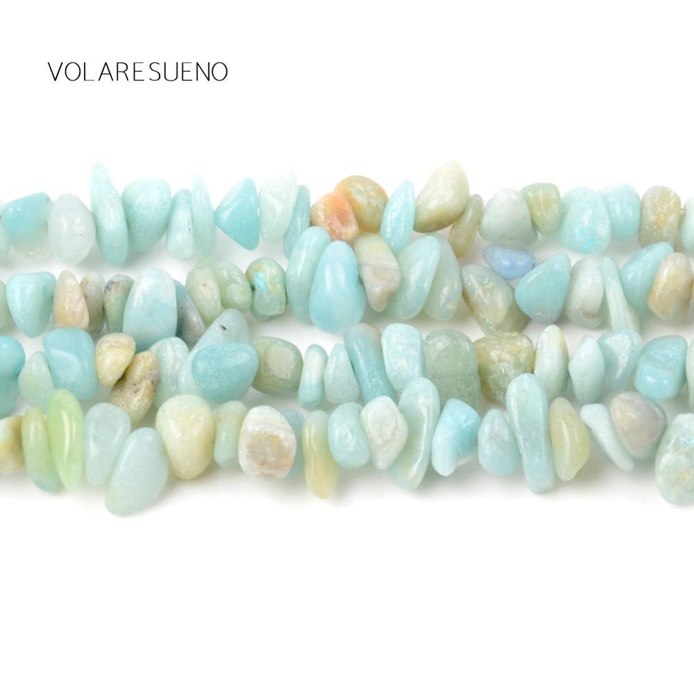"Irregular Amazonite Stone Freeform Chip Gravel Natural Loose Beads 16"" Pick 3-5-8-12m Spacer Beads For Bracelet Jewelry Making"