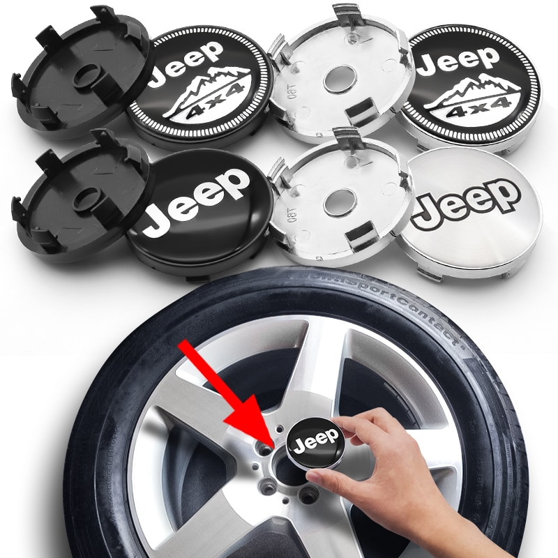 60mm emblem Wheel Center Hub Caps Badge covers Car Accessories for JEEP- Wrangler Grand Cherokee Renegade Compass Cherokee  - buy with discount