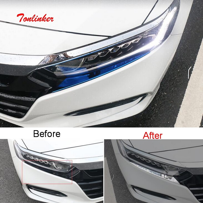 Tonlinker, cubierta tipo CEJA para faro Exterior de coche, pegatinas para HONDA ACCORD 2018-19, estilo de coche, 2 uds, pegatina de cubierta de acero inoxidable