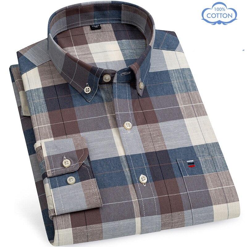 Рубашка мужская классическая из 100% хлопка, мягкая удобная классическая сорочка из ткани «Оксфорд» с длинными рукавами, деловой стиль, повсе...