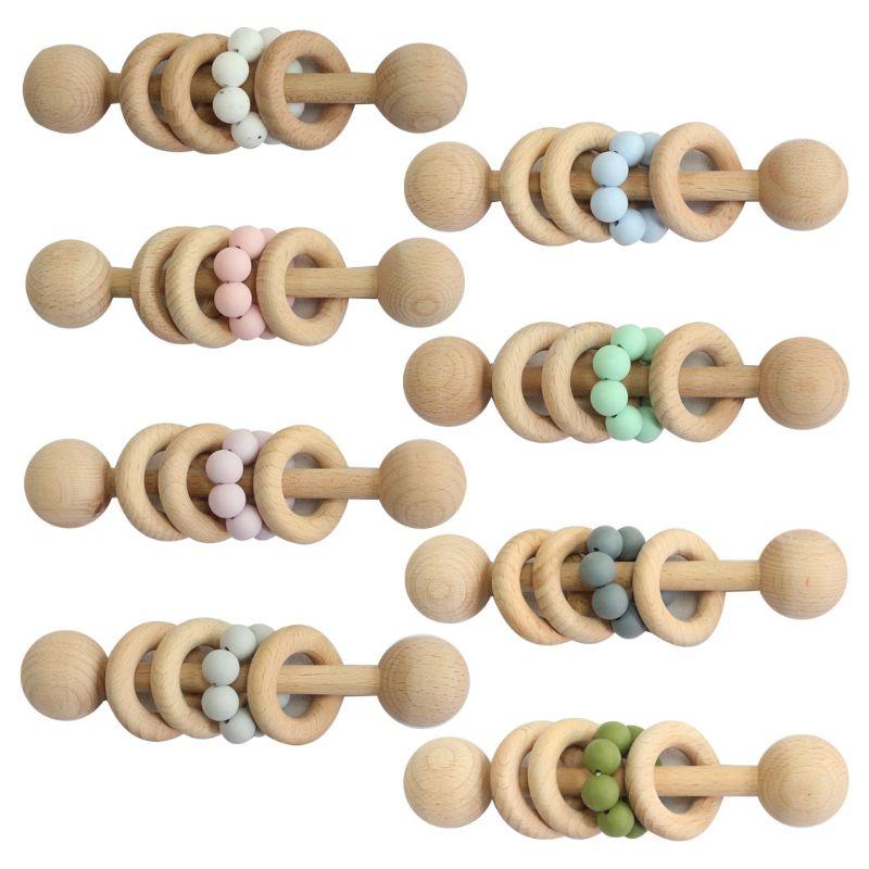 Тизеры из дерева для грызунки-погремушки прорезывания зубов пустышки для младенцев бусины Кольцо малыша молярная игрушки подарки