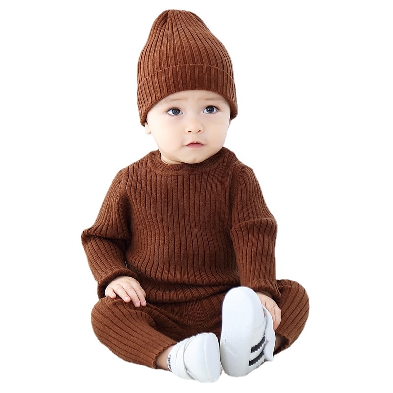 Infant Toddler Clothes Autumn Winter Boy Baby Sweater Sets Knitted Newborn Baby Outfits Warm Ribbed Striped O-Neck Clothing 2021