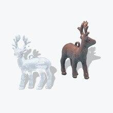 Mini poupée cerf artificiel, Mini Statue en plastique, modèle de maison, décoration de maison, jouet pour enfants, pendentif de noël