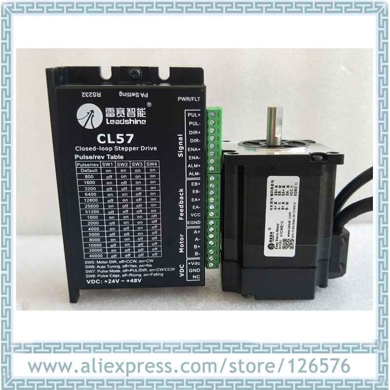 Original Leadshine 2 fases Total circuito cerrado motor paso a paso 1.3N.m 57CME13 + CL57 NEMA23 controlador paso a paso