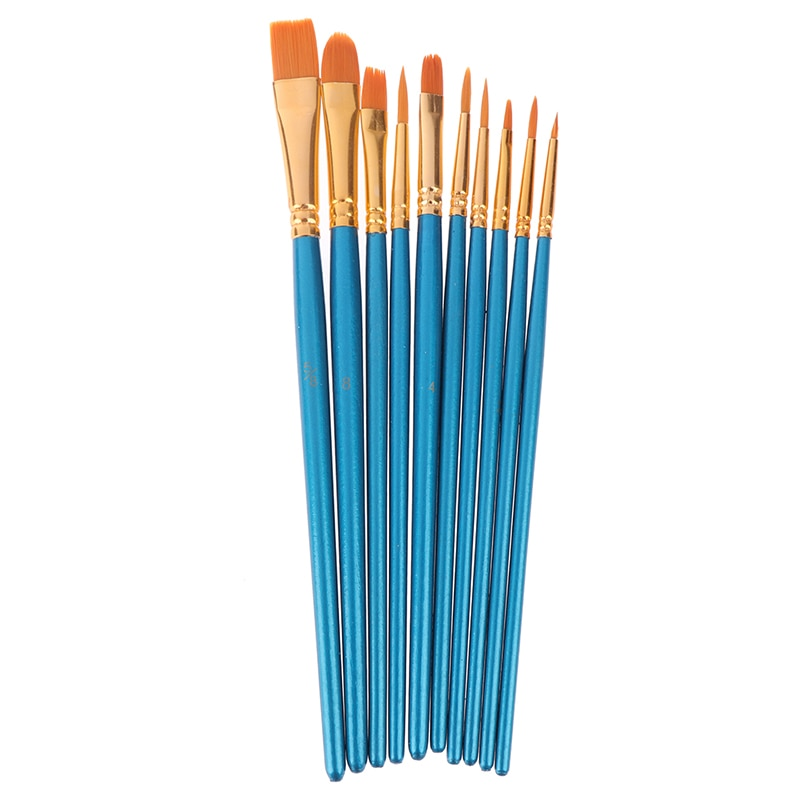 10pcs pack paint brushes set painting art brush for acrylic oil watercolor artist professional painting kits 10Pcs/set Artist Paint Brush Set Nylon Hair Watercolor Acrylic Oil Painting Brushes Drawing Art Supplies