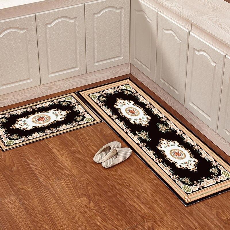 2 قطع أوروبا الكلاسيكية نمط المطبخ البساط الطباعة مستطيل غرفة المعيشة سجادة غرفة النوم عدم الانزلاق الحمام الحصير باب المنزل السجاد