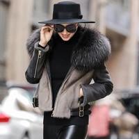 genuine wool fur coat raccoon fur collar womens coats real mink fur jacket warm jackets for women 2020 vetement femme zjt1311