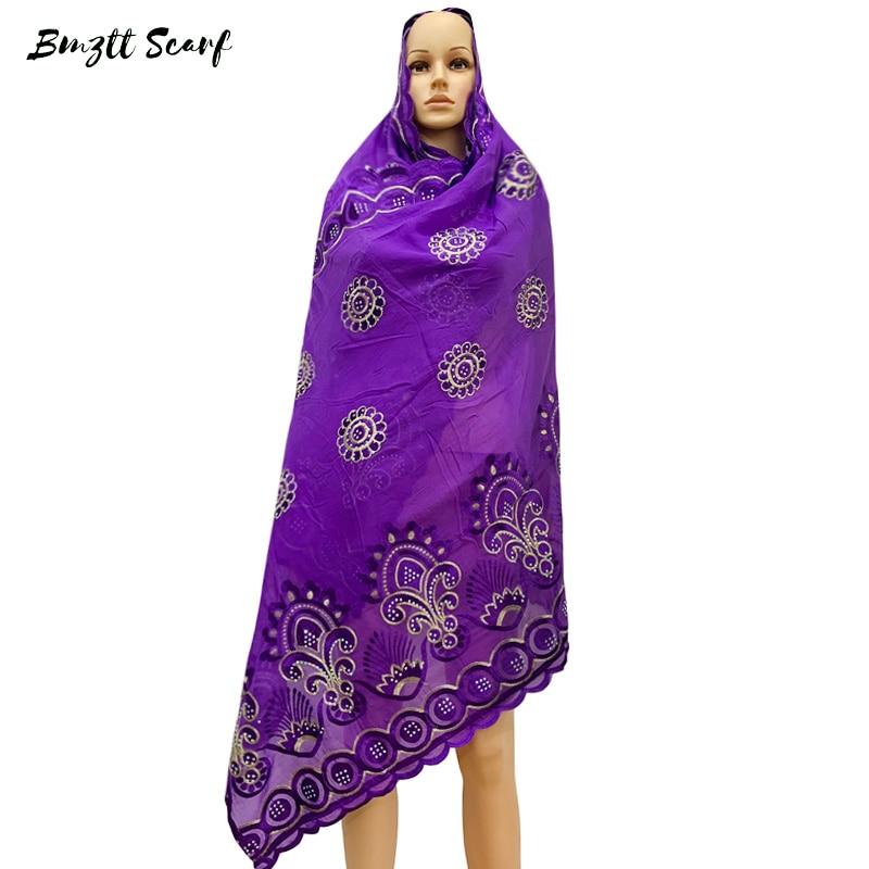 2020 Muslim Fashion Hijab Scarf African Women Scarves Headscarf Turkush Indian Arabic Foulard Cotton Embroidery BF-173