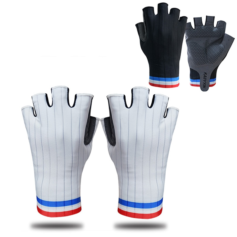 Cycling Gloves Blue and Red Stripes Half-finger Sports Gloves Breathable Non-slip Anti-impact Bike G