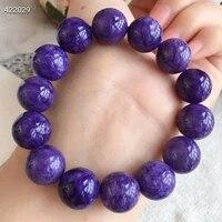 genuine natural purple charoite healing round beads jewelry women bracelet 15mm gemstone from russia big women men aaaaaa