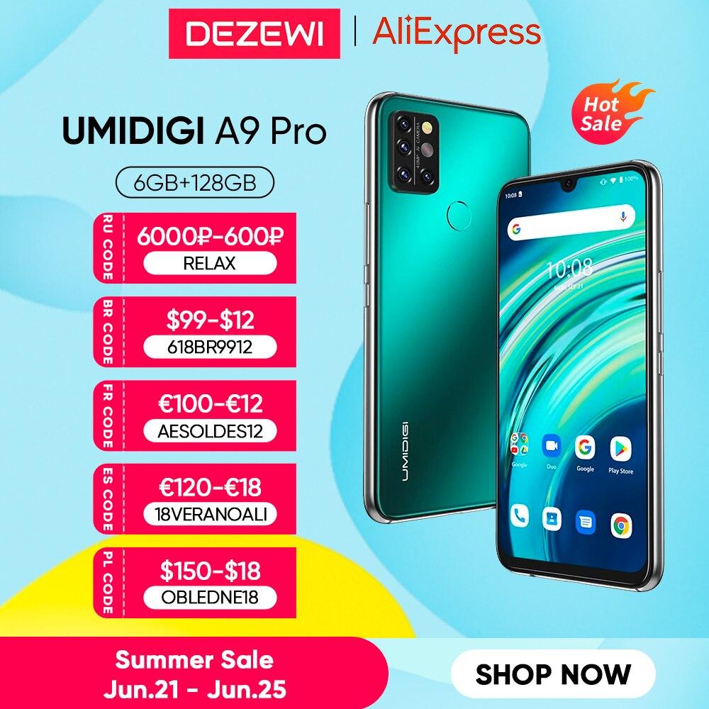 UMIDIGI A9 Pro смартфон разблокированый 32/48MP Quad Camera 24MP селфи камера 6 ГБ 128 Helio P60 Octa Core 6,3 дюйм FHD + безрамочный экран Глобальная версия