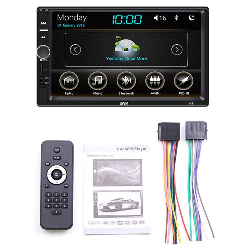 1 مجموعة سيارة الوسائط المتعددة MP5 لاعب الترفيه فيديو ستيريو راديو USB FM شاشة تعمل باللمس شاشة ديجيتال بلوتوث Autoradio
