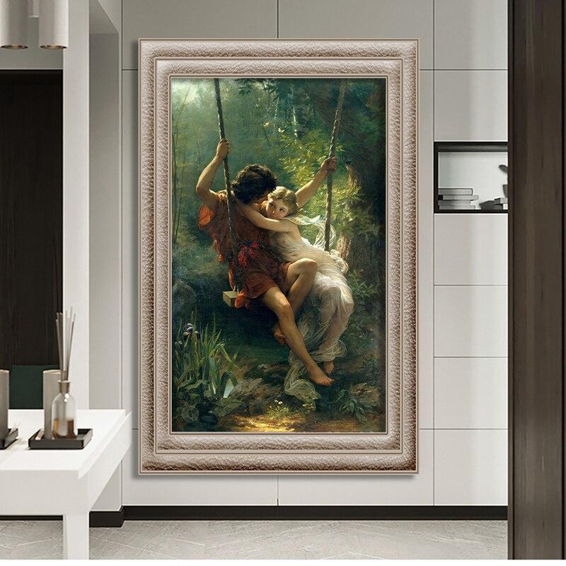 Columpio de Primavera de Pierre Auguste Cot, famosa pintura al óleo sobre lienzo, póster, impresiones, arte de pared, imagen para sala de estar, decoración Hoom