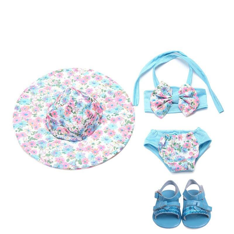 18 pulgadas niñas muñeca traje de baño Bikini traje de baño + gorra con zapatos falda americana recién nacido juguetes de bebé ajuste 43 cm muñecas del bebé c172