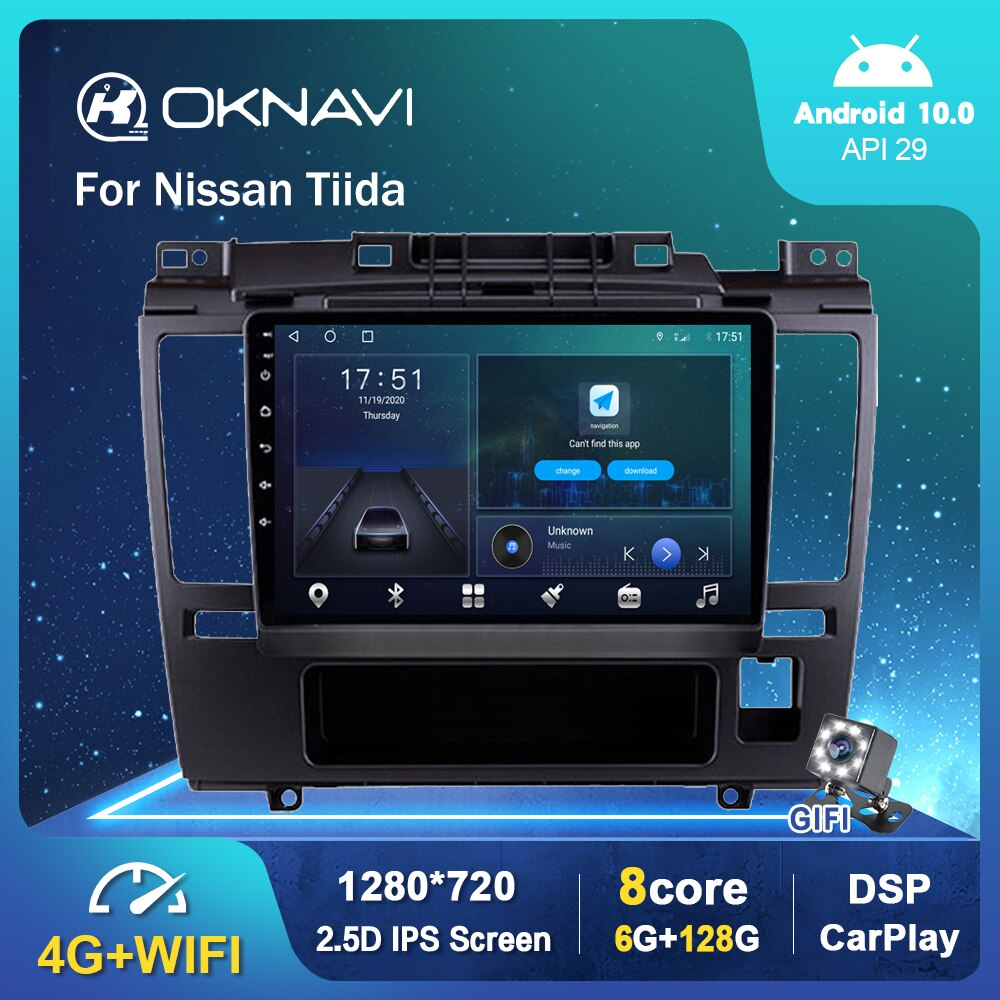 Фото - 6G 128G Android 10.0 Smart Car Radio Video Player For Nissan Tida 2005-2010 Auto BT Multimedia GPS Stereo Carplay No 2 din DVD 6g 128g android 10 0 smart car radio video player for nissan nv200 2011 2016 4g auto bt multimedia gps stereo dsp carplay no dvd