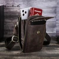 contacts genuine leather mens crossbody bag small phone pouch shoulder bags for men vintage male messenger bolsas de hombro
