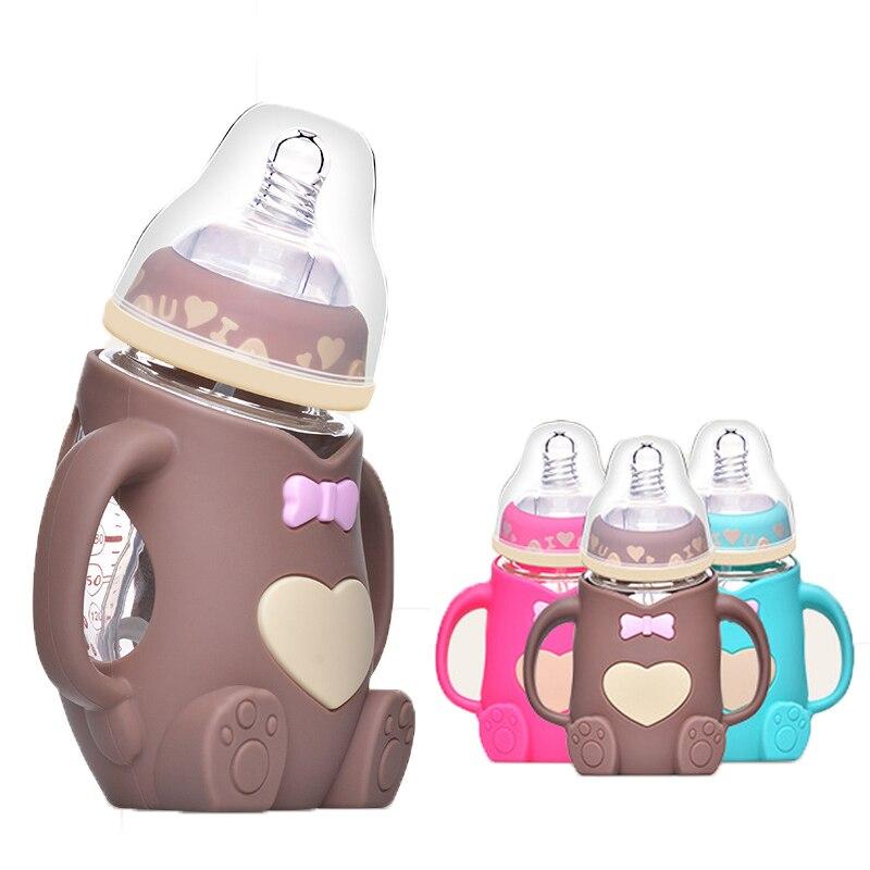 240ml baby silikon glas cartoon bär flasche baby anti-fallen und blähungen 2-in-1 kinder glas milch flasche