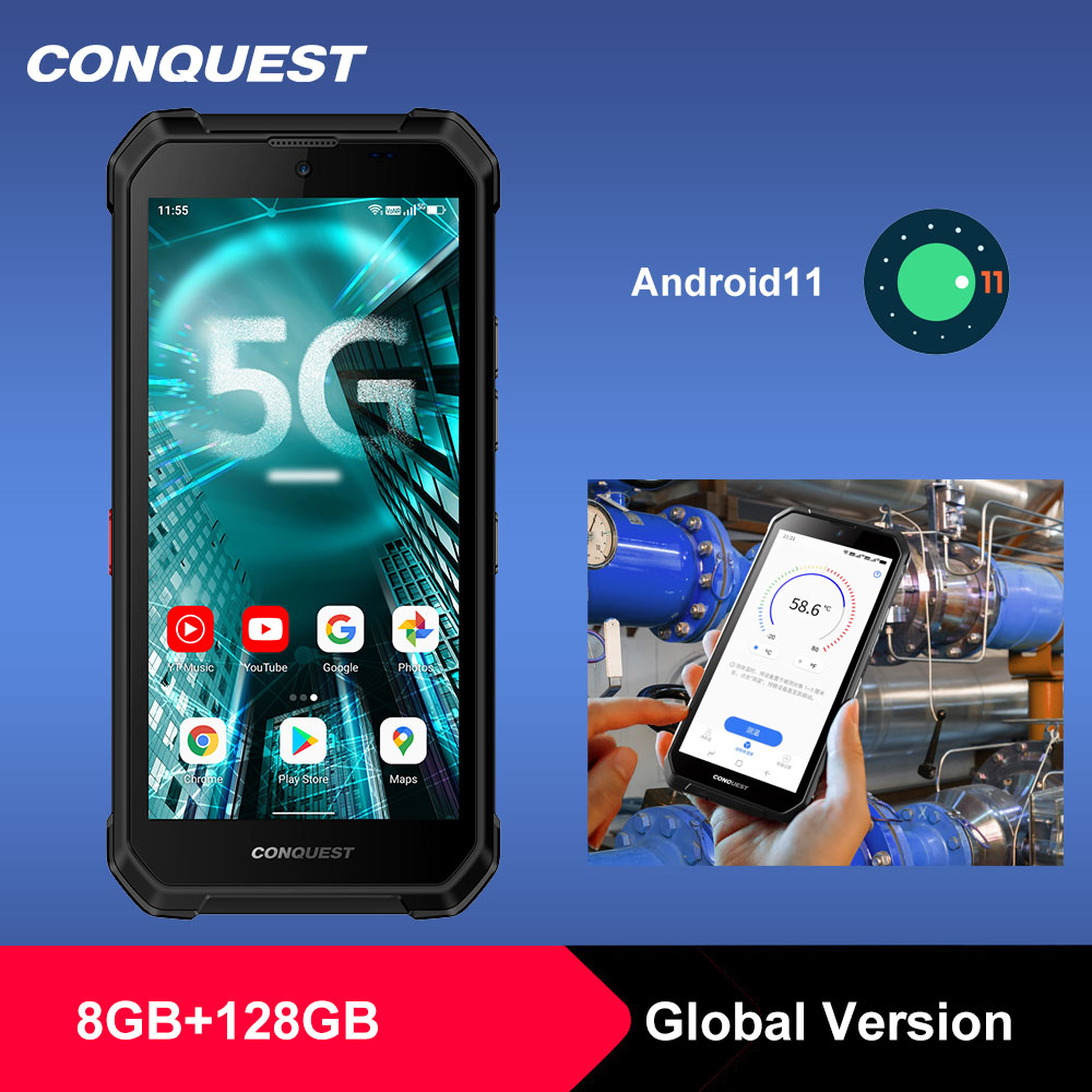 Dual 5G CONQUEST S21 Global Version Android 11 Rugged Phone Smartphone IP68 Waterproof 48MP Rear Camera  NFC Mobile Phone