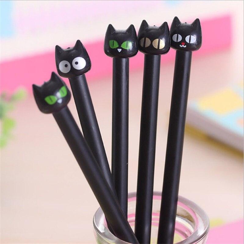 4 unidades/pacote 0.4mm gato preto bonito gel tinta caneta fabricante caneta escola escritório artigos de papelaria suprimentos estudante presentes escolar papelaria
