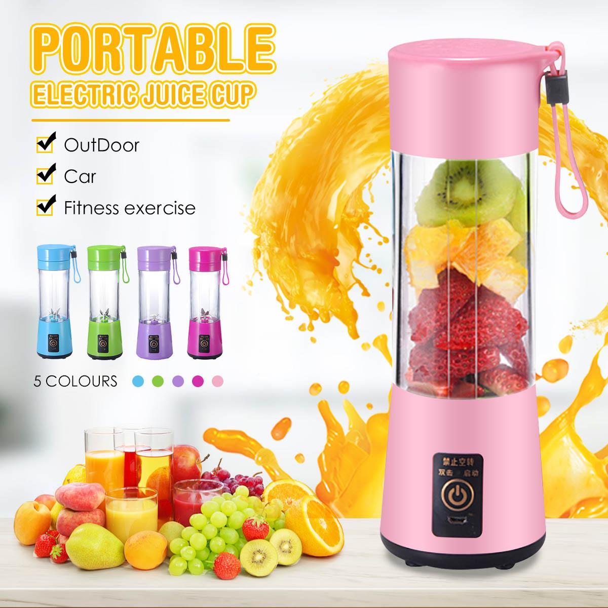 Exprimidor eléctrico portátil USB recargable taza 2 cuchillas botella de mano fruta vegetales exprimidor licuadora exprimidor máquina escariadora