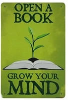 open a book grow your mind tin metal sign metal plaque unturned home decoration retro vintage coffee tin poster