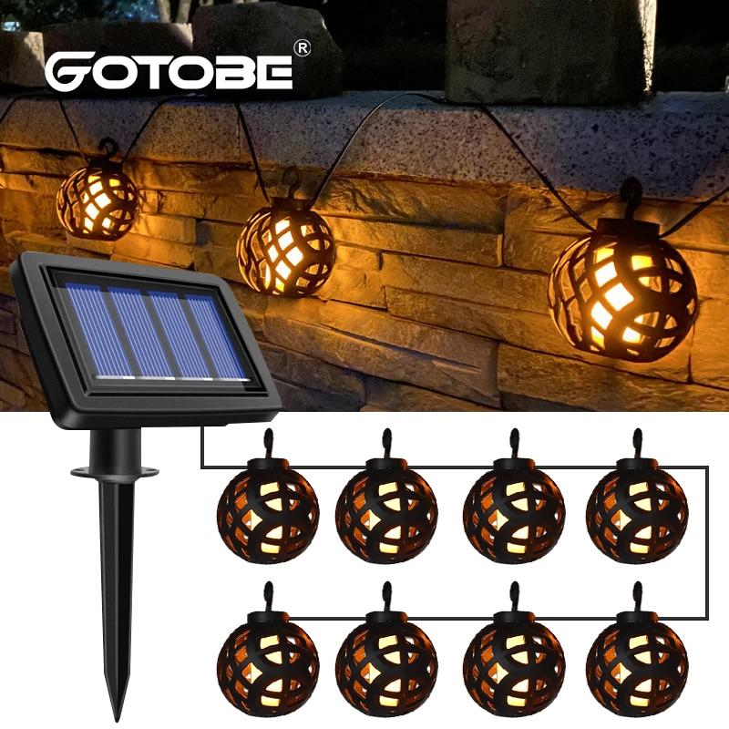 8 Bulbs Solar Flame Ball Lamp LED Outdoor Solar String Lights Waterproof Hanging Lantern Garden Yard Decoration Lamp Patio Light