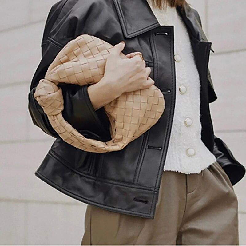 Women's bag 2021 new style 100% genuine leather fashion design all-match shoulder bag underarm bag BV woven ladies clutch