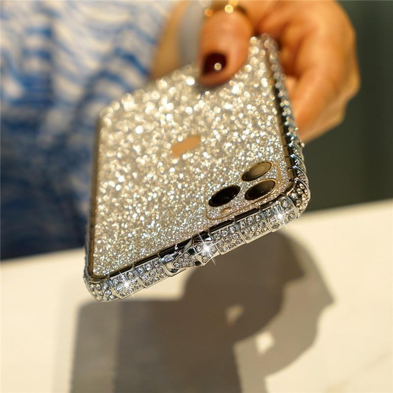 Rhinestone Metal Bumper Case Glitter Diamond Phone Cover For iPhone 12 Pro Max 12 Mini Case 6S 7 8 Plus X Xr Xs 11 Pro Max Funda