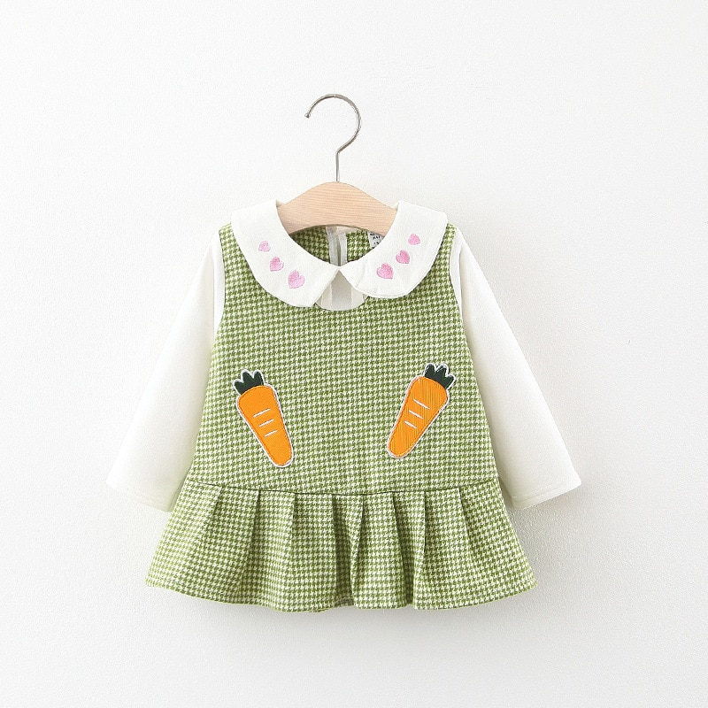 Otoño niñas de manga larga cuello de solapa Patchwork Plaid estampado de zanahorias lindo plisado niños vestido infantil vestidos