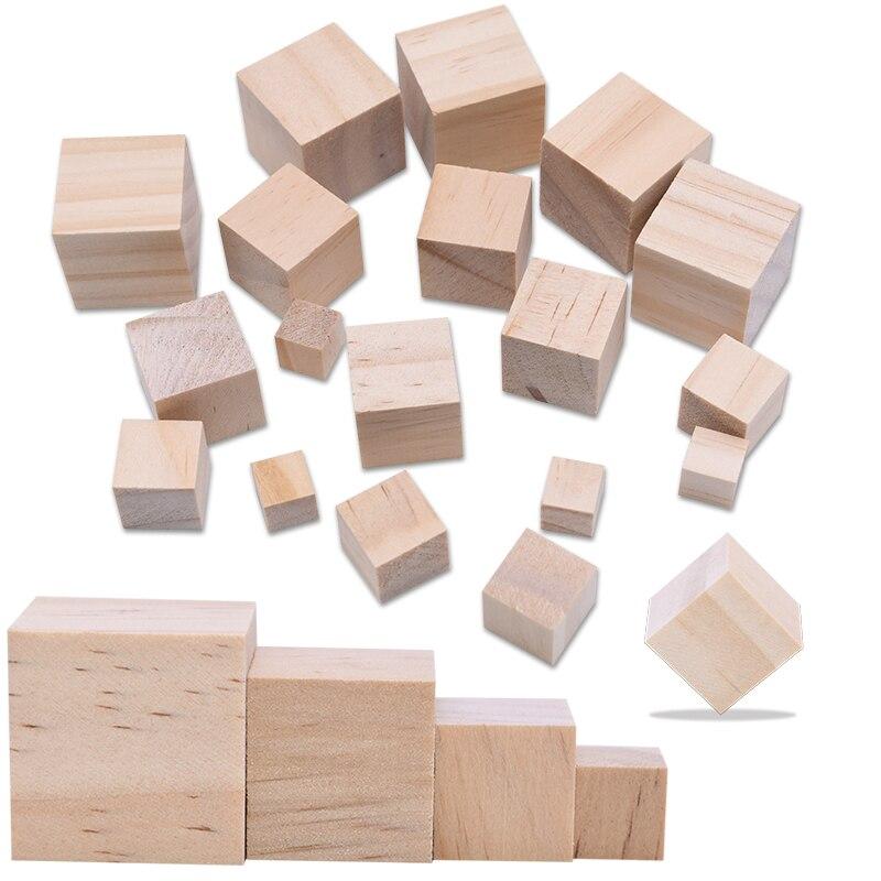 Mini adorno de cubos de madera de alta calidad de 10-25mm, bloques cuadrados para artesanía en madera, DIY, decoración hecha a mano para el hogar