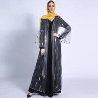 new arab turkish ramadan fashion womens jacket flare sleeve lace up dress middle east abaya dubai sequined mesh cardigan robe