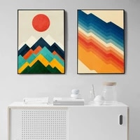 abstract poster colorful geometry posters and prints red sun mountain wall art pictures nordic canvas painting decor for home