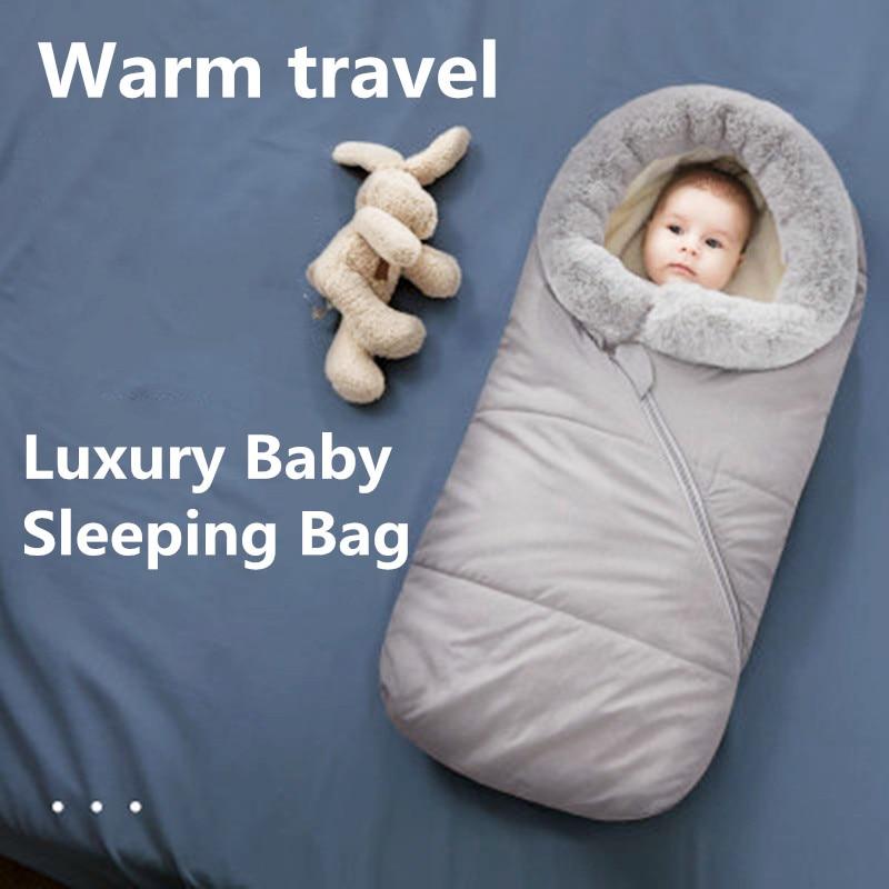 Baby Sleeping Bag Infant Winter Bed Luxury Bag for Stroller thick Warm Wheelchair Envelope Sleepsack Baby Stroller Accessories