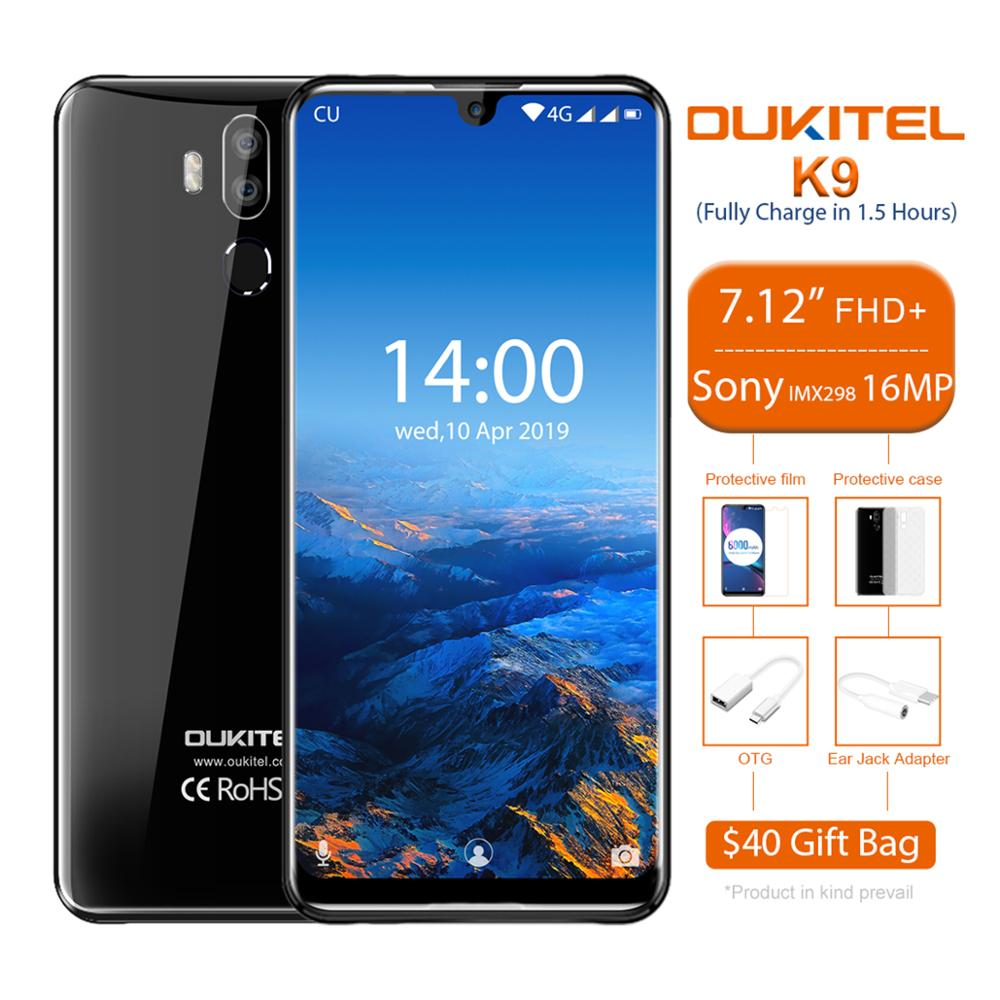 OUKITEL K9 Smartphone 7,12 pulgadas Android 9,0 Octa Core 2,3 GHz 4GB RAM 64GB ROM 6000mAh 5V/6A carga rápida 4G LTE móvil teléfono