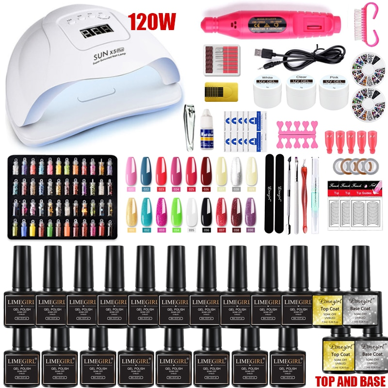 Nail Set 120W UV LED Lamp Dryer With 18/12 PCS Nail Gel Polish Kit Soak Off Manicure Set electric Na