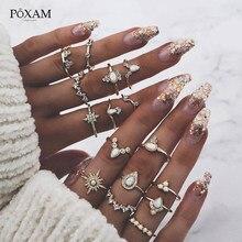POXAM bohème délicat Vintage or anneaux ensemble 16 Styles Punk géométrique vague opale motif cristal bague de mariage pour les femmes bijoux